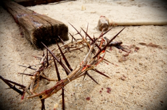 "easter scene with crown of thorns, hammer and nails with blood on sand |  Lucinda Secrest McDowell – ""Encouraging Words"""
